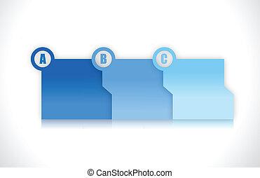 błękitny, falcownicy, ilustracja, krok, projektować, postęp