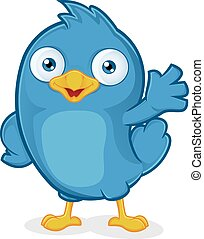 błękitny, falować, ptak