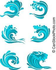 błękitny falowy, curling, morze, ocean