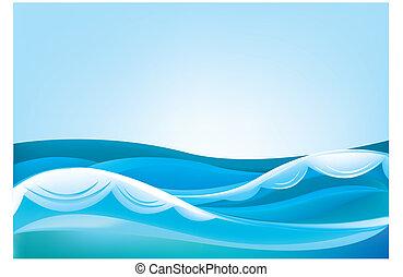 błękitny falowy, niebo, ocean