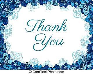 błękitny, flowers., dziękować, karta, ty
