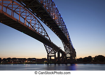 błękitny, fotografia, noc, woda, most