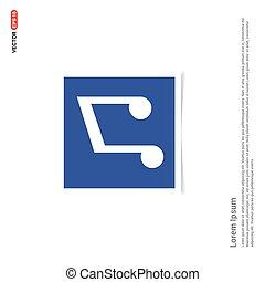 błękitny, fotografia, symbol, -, muzyka, budowa ikona