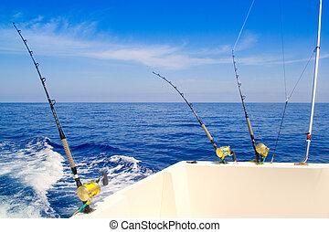 błękitny, głęboki, wędkarski, morze, trolling, łódka