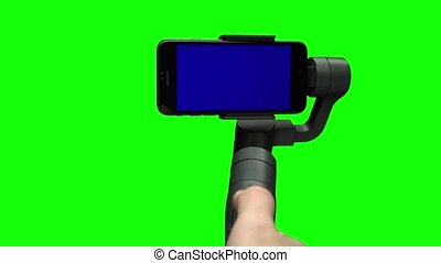 błękitny, gimbal, ekran, ręka, stabilizator, steadicam,...