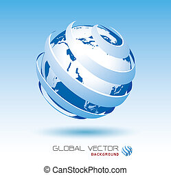 błękitny, globalny, wektor, tło