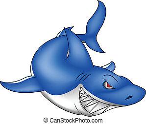 błękitny, gniewny, rekin