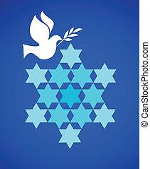 błękitny, gołąb, pokój, gwiazda, dawid