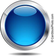 błękitny, guzik, połyskujący, ikona