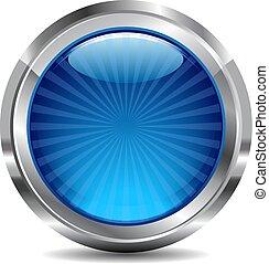 błękitny, guzik, wektor, projektować, ikona, błyszczący
