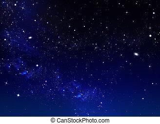 błękitny, gwiaździste niebo, tło