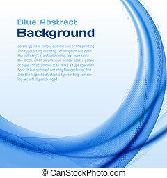 błękitny, halftone., tło, machać
