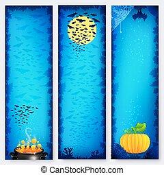 błękitny, halloween, chorągwie, tła, komplet