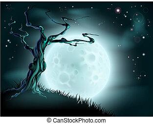 błękitny, halloween, drzewo, tło, księżyc