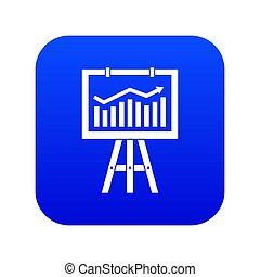 błękitny, handel, flipchart, cyfrowy, dane, ikona