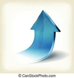 błękitny, handlowy, do góry, powstanie, strzała, infographics