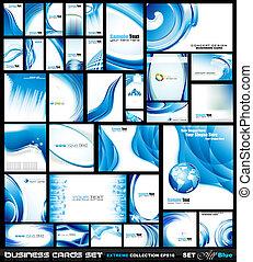 błękitny, handlowy, fale, zbiorowy, collection:, karta