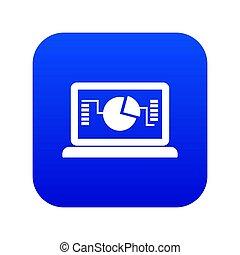 błękitny, handlowy, wykres, laptop, cyfrowy, ikona
