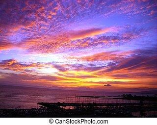 błękitny, hawajczyk, niebo