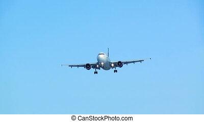 błękitny, hd., samolot, landing., sky.