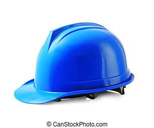 błękitny, hełm bezpieczeństwa, na białym, twardy kapelusz, odizolowany, strzyżenie, path.