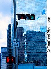 błękitny, houston, zabudowanie, śródmieście, lustro, texas