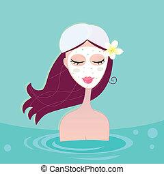 błękitny, hydrotherapy:, kobieta odprężająca, zdrój