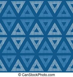 błękitny, ikat, próbka, abstrakcyjny, seamless, tekstylny, tło, triangle