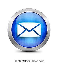 błękitny, ikona, email, znak