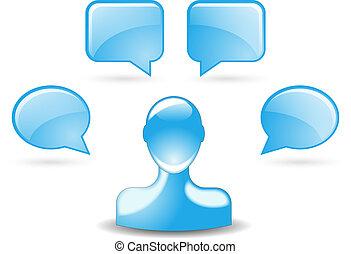 błękitny, ikona, pąkowy, comments, użytkownik