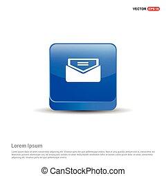 błękitny, -, ikona, poczta, wysyłać, 3d, guzik