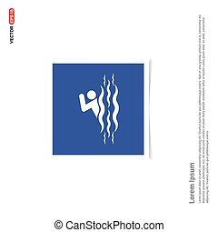 błękitny, ikona, zdejmować budowę, -, sport, pływacki