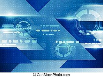 błękitny, illustration., abstrakcyjny, tło., wektor, technologia