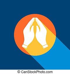 błękitny, illustration., bezkresny, tangelo, lekki, produced., symbol., żółty, ręka, tło., jasny, selekcyjny, czarne koło, vector., modlitwa, marynarka wojenna, biały, chłodny cień, ikona