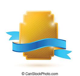 błękitny, ilustracja, wstążka, tarcza, złoty