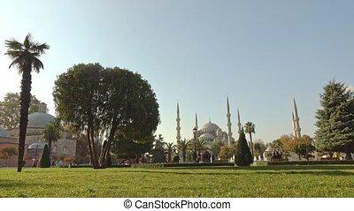 błękitny, indyk, ahmed, skwer, sułtan, meczet, słoneczny, ...