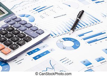 błękitny, informacja, handlowy, wykresy, informuje, wykresy