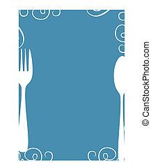 błękitny, jadłospisowy szablon