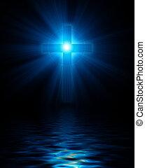 błękitny, jarzący się, chrześcijanin, krzyż