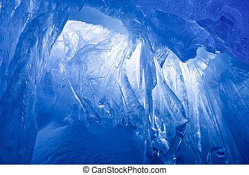 błękitny, jaskinia, lód