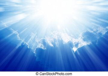 błękitny, jasne niebo, słońce