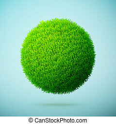 błękitny, jasny, kula, zielone tło, trawa