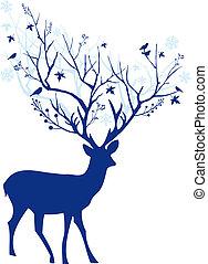 błękitny, jeleń, wektor, boże narodzenie