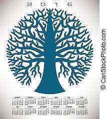 błękitny, kalendarz, 2016, drzewo, okrągły