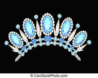 błękitny, kamienie, diadem, kształt, korona, kobiecy,...
