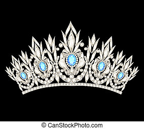 błękitny, kamienie, lekki, korona, damski, ślub, tiara