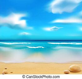 błękitny, kamyki, plaża, ocean