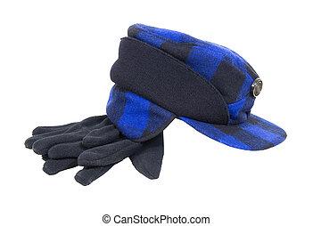 błękitny kapelusz, myśliwi, pled, rękawiczki
