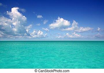 błękitny, karaibski, horyzont, niebo, urlop, morze, dzień