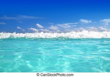 błękitny, karaibskie morze, machać, woda, horyzont